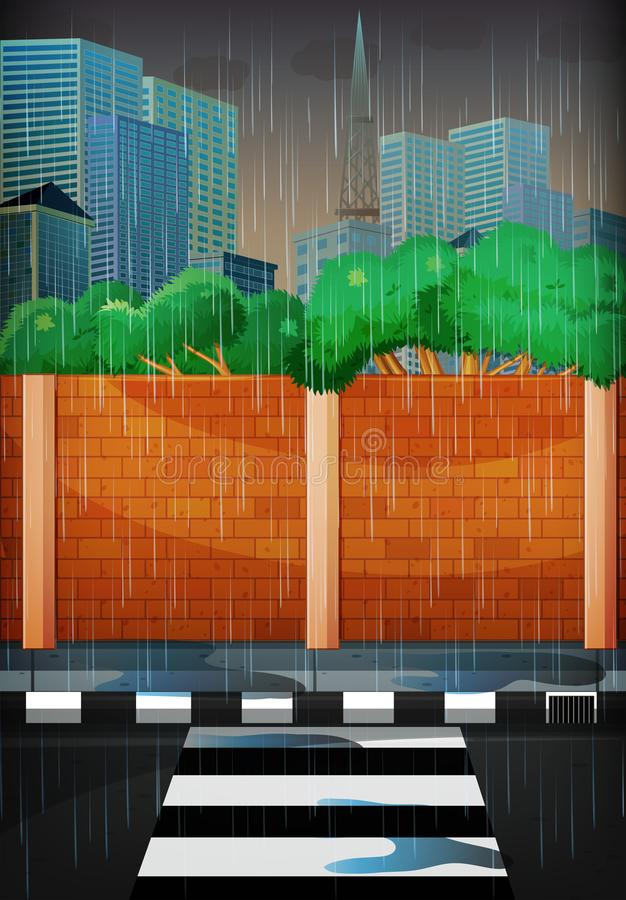 regnig stadsdag stock illustrationer