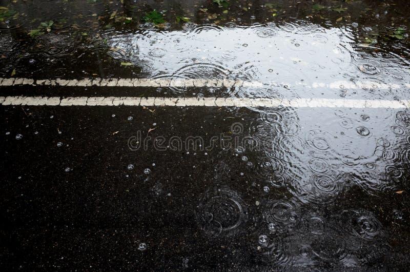 Regnig väderpöl dåligt väder för stadsväg royaltyfri bild