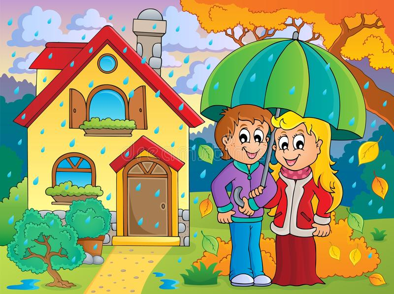 Regnig vädertemabild 3 stock illustrationer