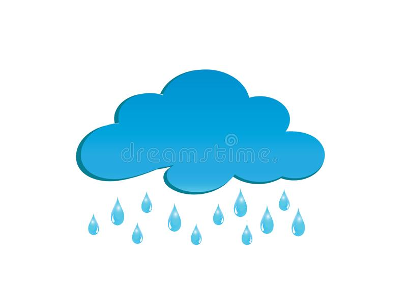 Regniga moln för logodesignillustratör, droppar av regnsymbolet vektor illustrationer