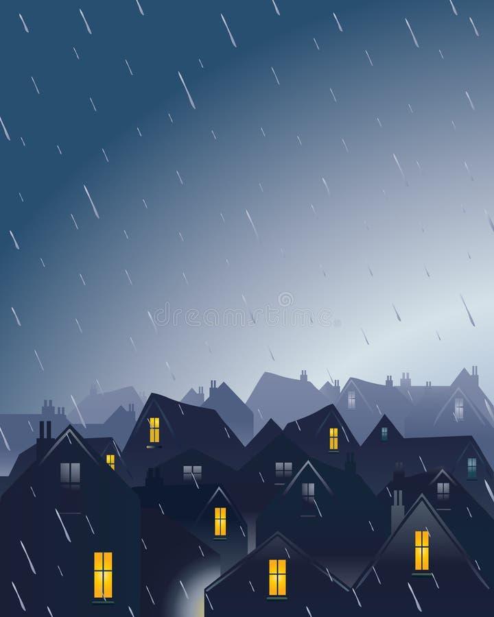 regniga rooftops vektor illustrationer