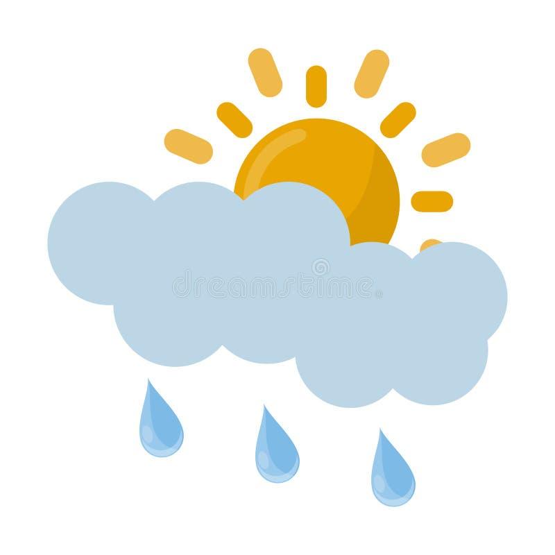 Regniga sol och moln stock illustrationer