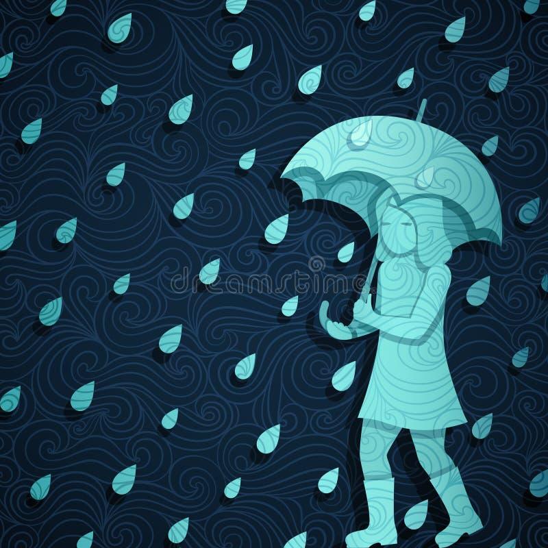 Regnigt baner stock illustrationer