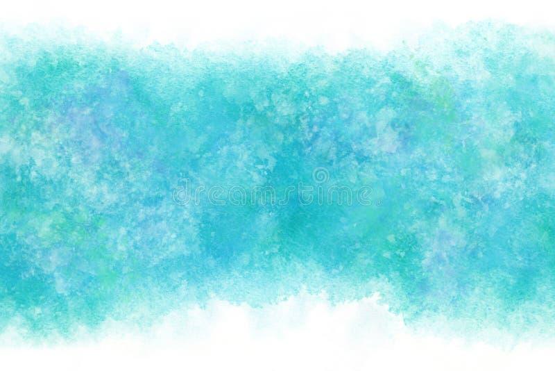 Regnigt blått abstrakt begrepp för pastellfärgad färg eller vattenfärgmålarfärgbakgrund royaltyfri illustrationer