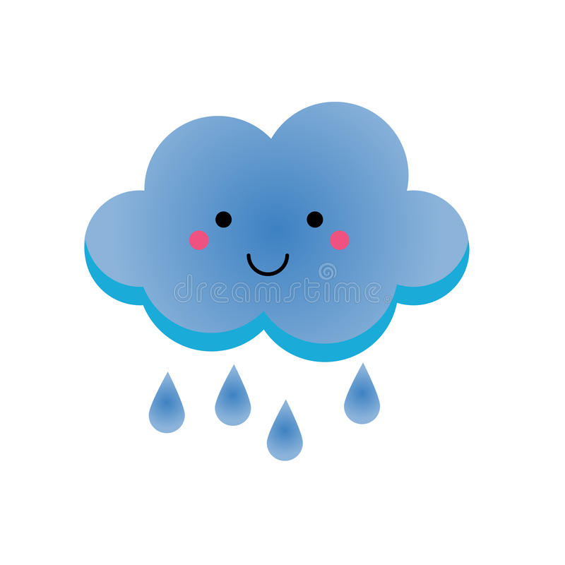 Regnigt clowdtecken för gullig kawaii Vektorillustration för ungar, isolerad designbeståndsdel stock illustrationer