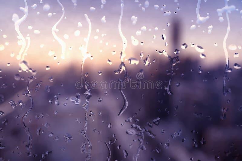 Regnigt exponeringsglas och suddigt stadslandskap vektor illustrationer