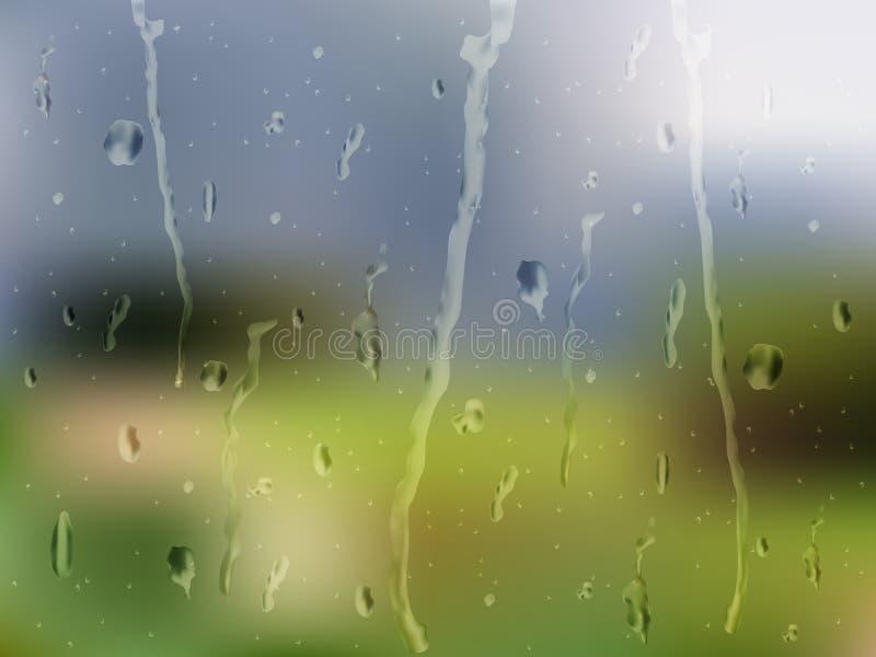 Regnigt fönster för sommar stock illustrationer
