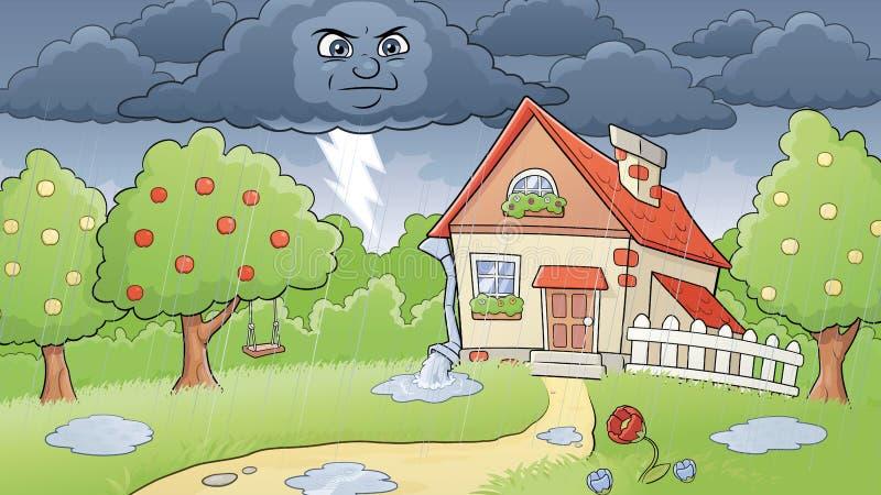 Regnigt lantligt landskap royaltyfri illustrationer