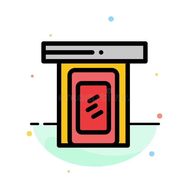 Regnigt moln, dörr, hem- abstrakt plan färgsymbolsmall stock illustrationer