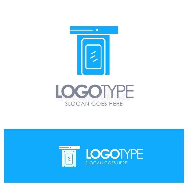 Regnigt moln, dörr, hem- blå fast logo med stället för tagline vektor illustrationer
