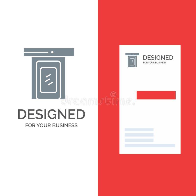 Regnigt, moln, dörr, hem Grey Logo Design och mall för affärskort vektor illustrationer