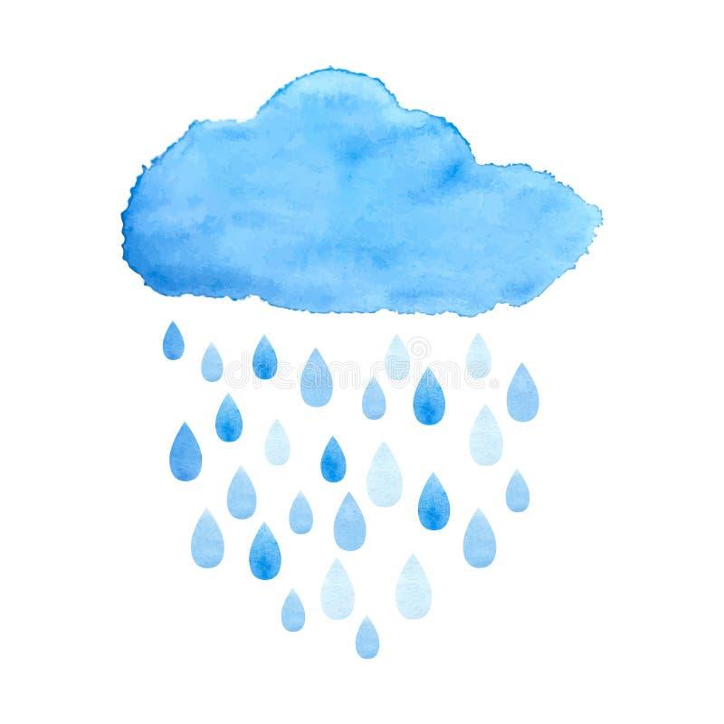 Regnigt moln i vattenfärg vektor royaltyfri illustrationer