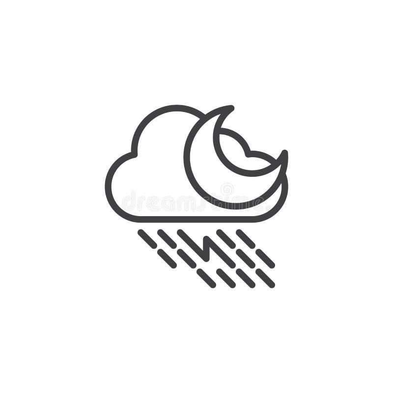 Regnigt moln med blixt- och måneöversiktssymbolen vektor illustrationer