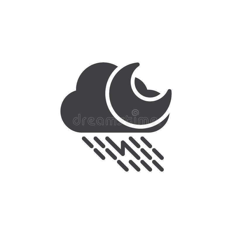 Regnigt moln med blixt- och månevektorsymbolen vektor illustrationer