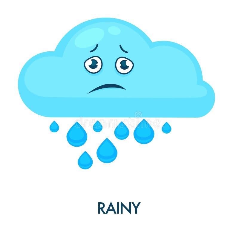 Regnigt moln med tunga droppar och den ledsna framsidan vektor illustrationer