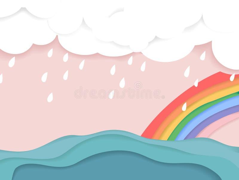 Regnigt moln och regnbåge över havet stock illustrationer