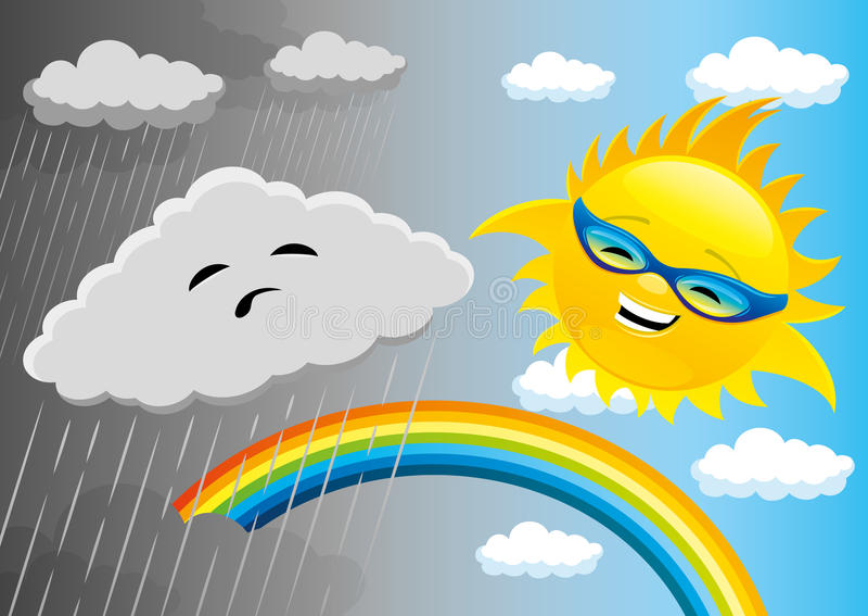 Regnigt och soligt väder vektor illustrationer