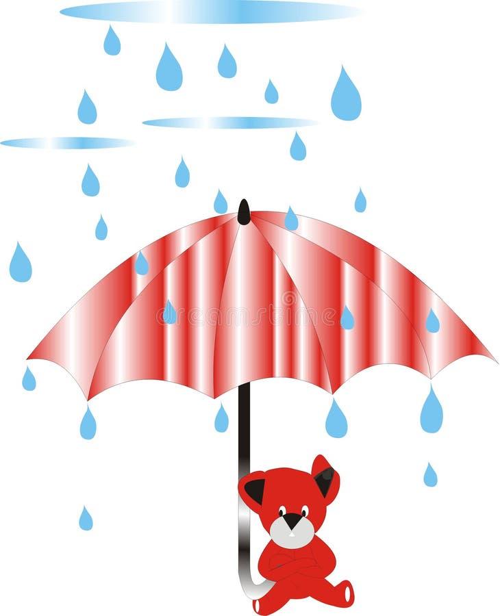regnigt paraply för björndag stock illustrationer