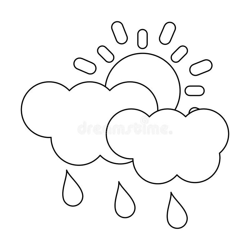 Regnigt svartvitt för sol och för moln royaltyfri illustrationer