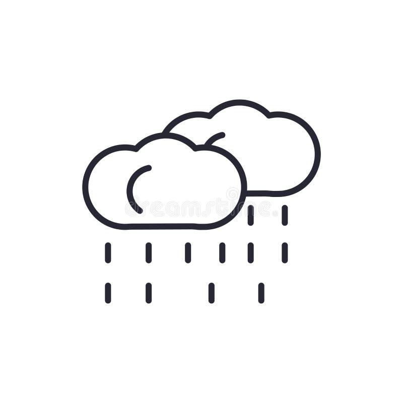 Regnigt symbolsvektortecken och symbol som isoleras på vit bakgrund, regnigt logobegrepp stock illustrationer