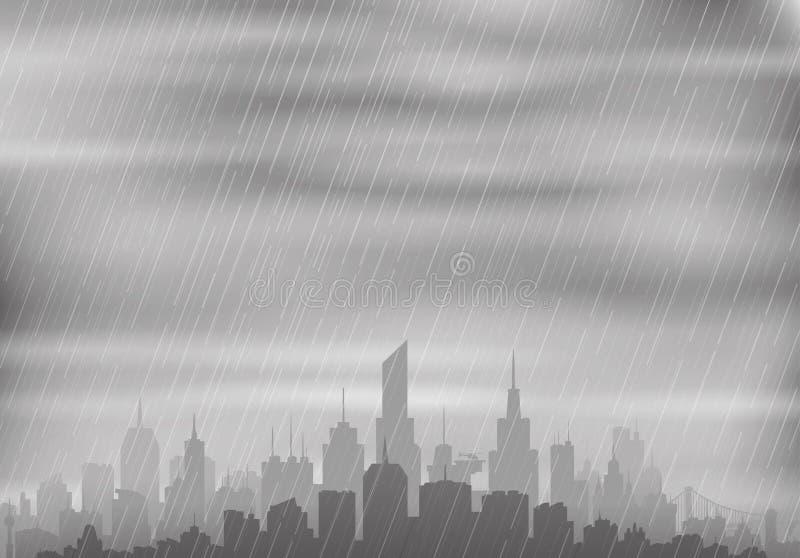 Regnigt väder över staden vektor illustrationer