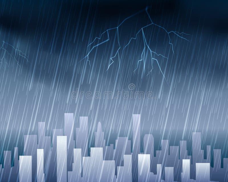 Regnigt väder i stadblåttbakgrund stock illustrationer