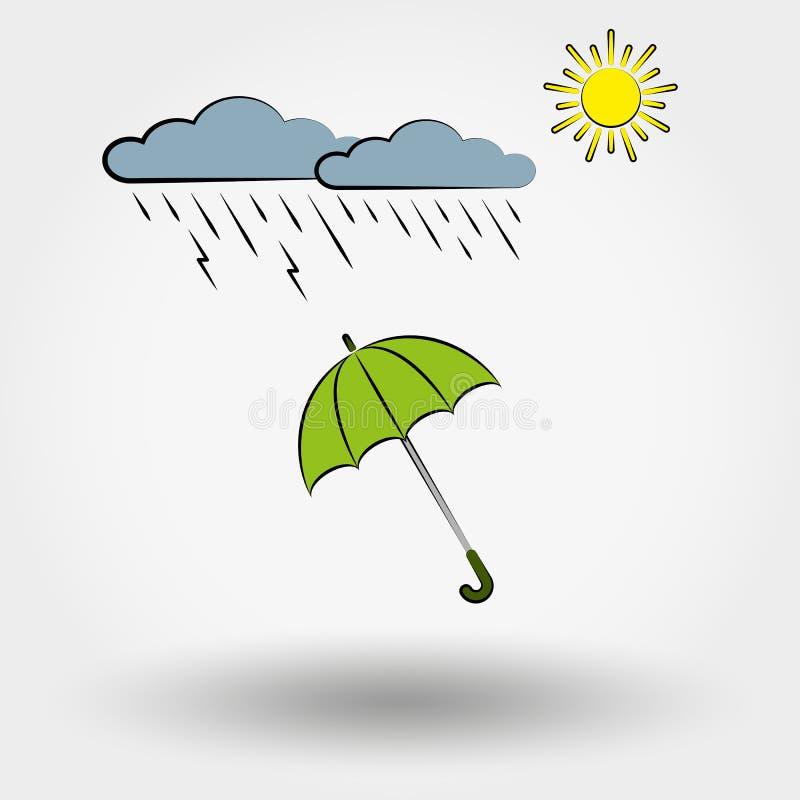 Regnigt väder med moln, solen och paraplyet royaltyfri illustrationer