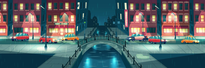 Regnigt väder på vektor för tecknad film för nattstadsgator vektor illustrationer