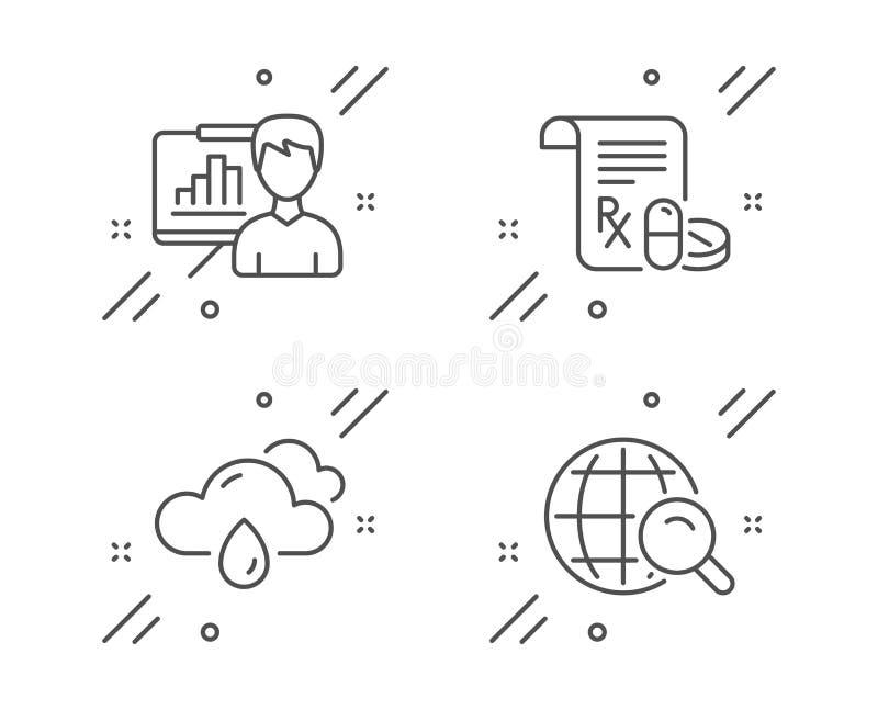 Regnigt väder, presentationsbräde och medicinsk receptsymbolsuppsättning Internets?kandetecken vektor vektor illustrationer