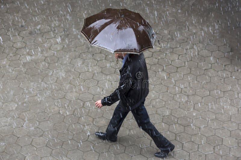 Regnigt väderparaply royaltyfria bilder