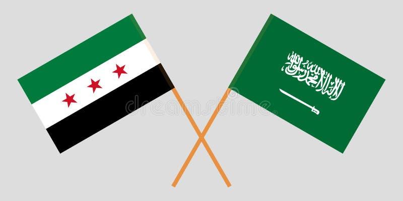 Regno dell'Arabia Saudita e della coalizione nazionale siriana L'opposizione della Siria e bandiere di KSA illustrazione di stock