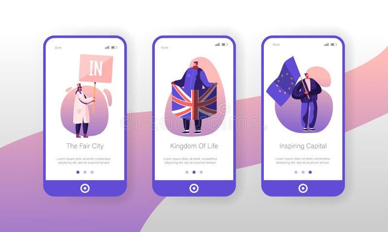 Regno Unito: pagina dell'app mobile Politica su schermo Onboard set People with Britain and European Union Flags Brexit illustrazione vettoriale