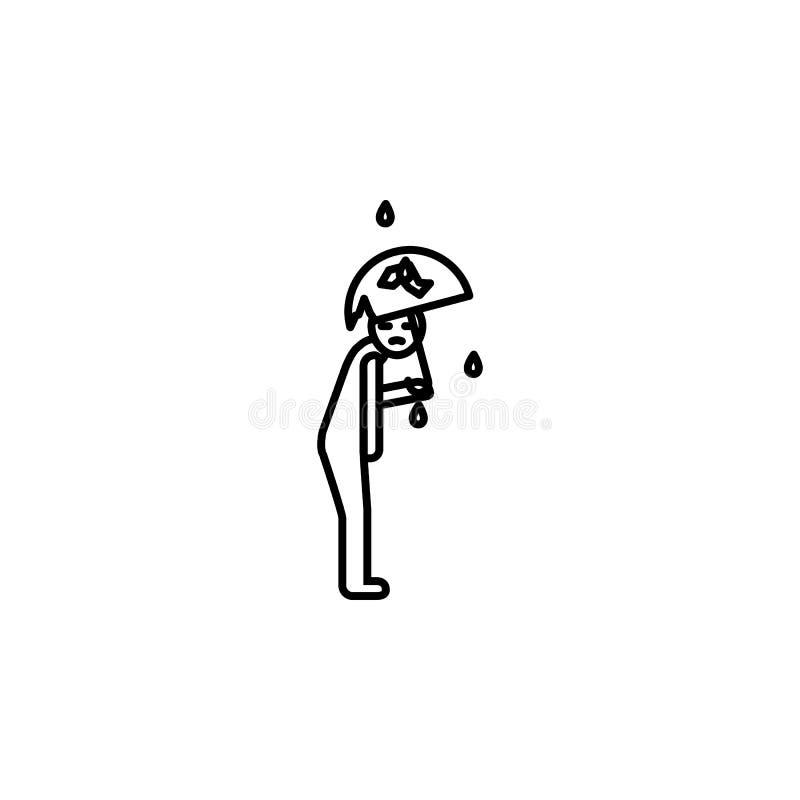Regnsymbol för fattig man Beståndsdel av symbolen för socialt liv för armod för mobila begrepps- och rengöringsdukapps Den tunna  vektor illustrationer