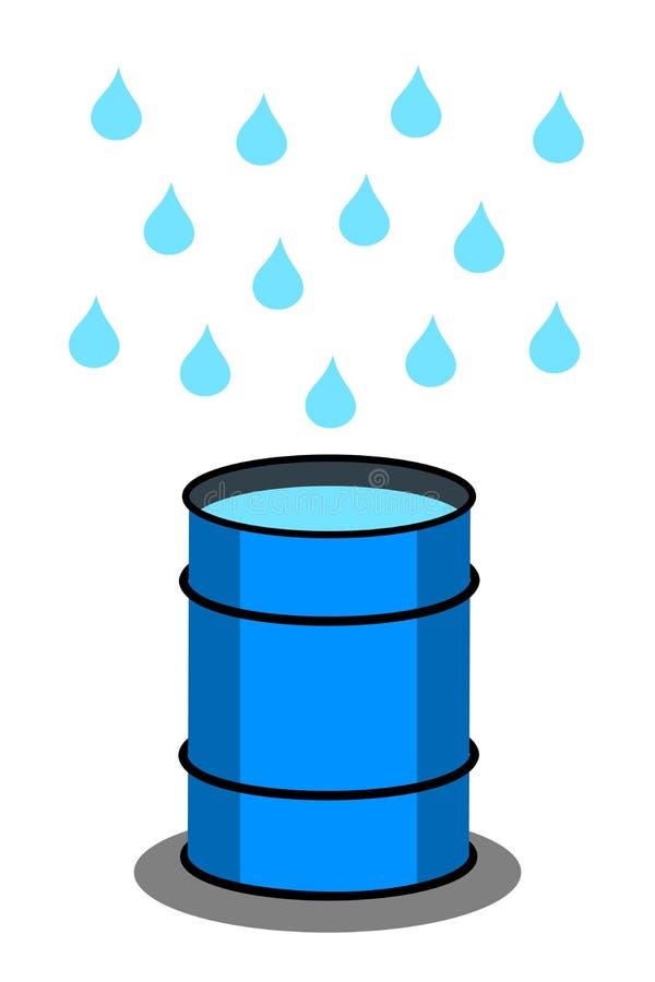 Regntrumma för regnvatten som skördar under regn royaltyfri illustrationer