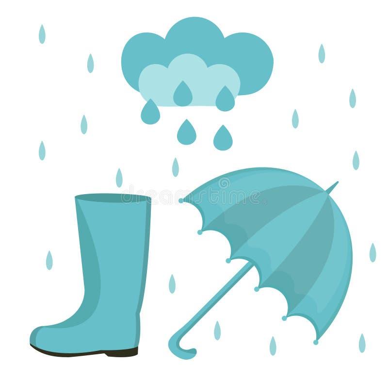 Regnuppsättning av lägenhet- eller tecknad filmstil Höstsamling med paraplyet, moln, gummistöveler bakgrund isolerad white stock illustrationer