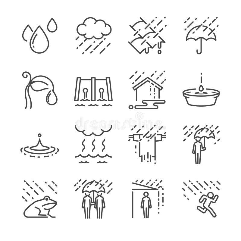 Regnvektorlinje symbolsuppsättning Inklusive symbolerna som regn, paraplyet, vatten, vattendroppe och mer royaltyfri illustrationer