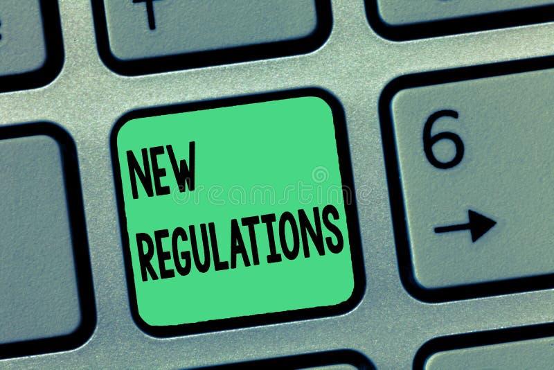 Regolamenti del testo di scrittura di parola nuovi Concetto di affari per il regolamento che controlla l'attività usata solitamen fotografia stock libera da diritti