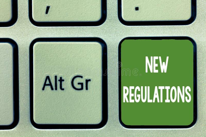 Regolamenti del testo di scrittura di parola nuovi Concetto di affari per il regolamento che controlla l'attività usata solitamen fotografie stock libere da diritti