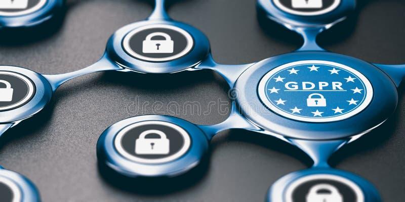 Regolamento generale di protezione dei dati, conformità di UE GDPR e Confo illustrazione di stock