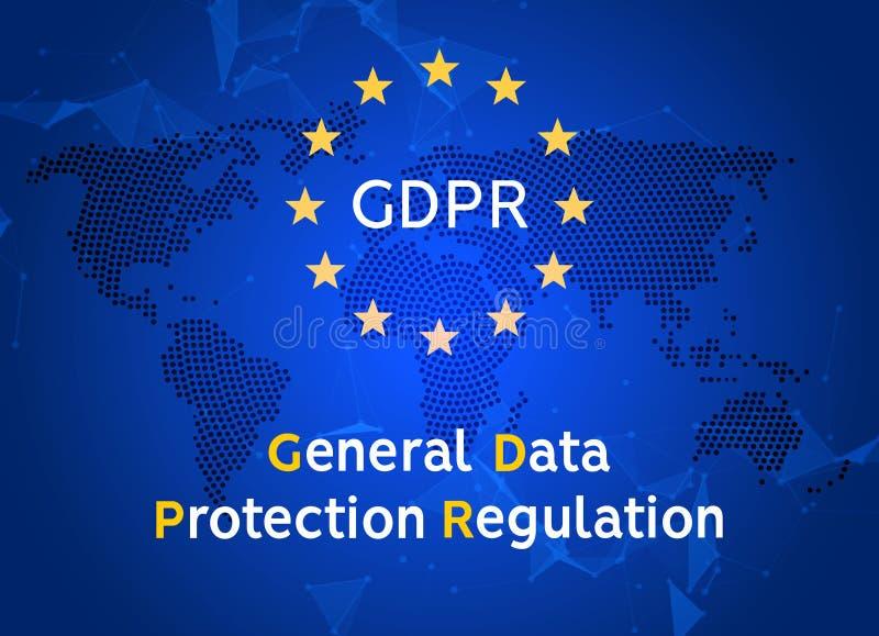 Regolamento generale GDPR di protezione dei dati Sicurezza dell'europeo di Internet Protezione dei dati sicura di segretezza royalty illustrazione gratis