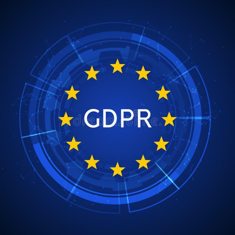 Regolamento generale GDPR di protezione dei dati Sicurezza dell'europeo di Internet Protezione dei dati sicura di segretezza illustrazione di stock