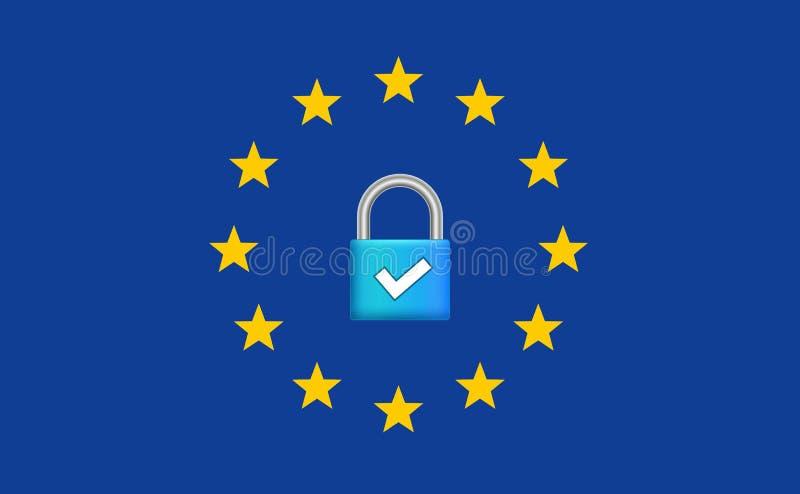 Regolamento generale GDPR di protezione dei dati Sicurezza dell'europeo di Internet Protezione dei dati sicura di segretezza illustrazione vettoriale