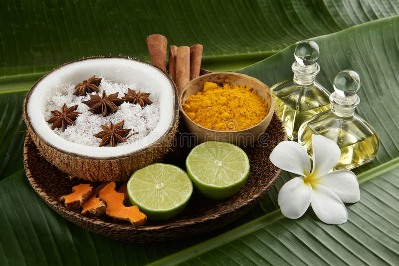 Regolazione asiatica della stazione termale con la noce di cocco, curcuma, calce, cannella, anice immagini stock