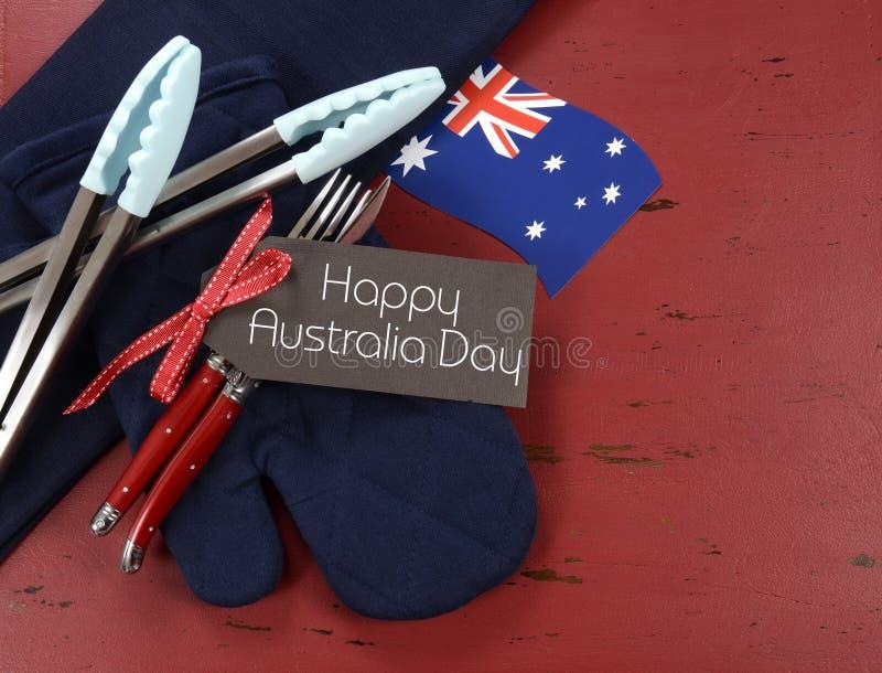 Regolazione bianca e blu di giorno dell'Australia, il 26 gennaio, di rosso di tema, del barbecue fotografie stock