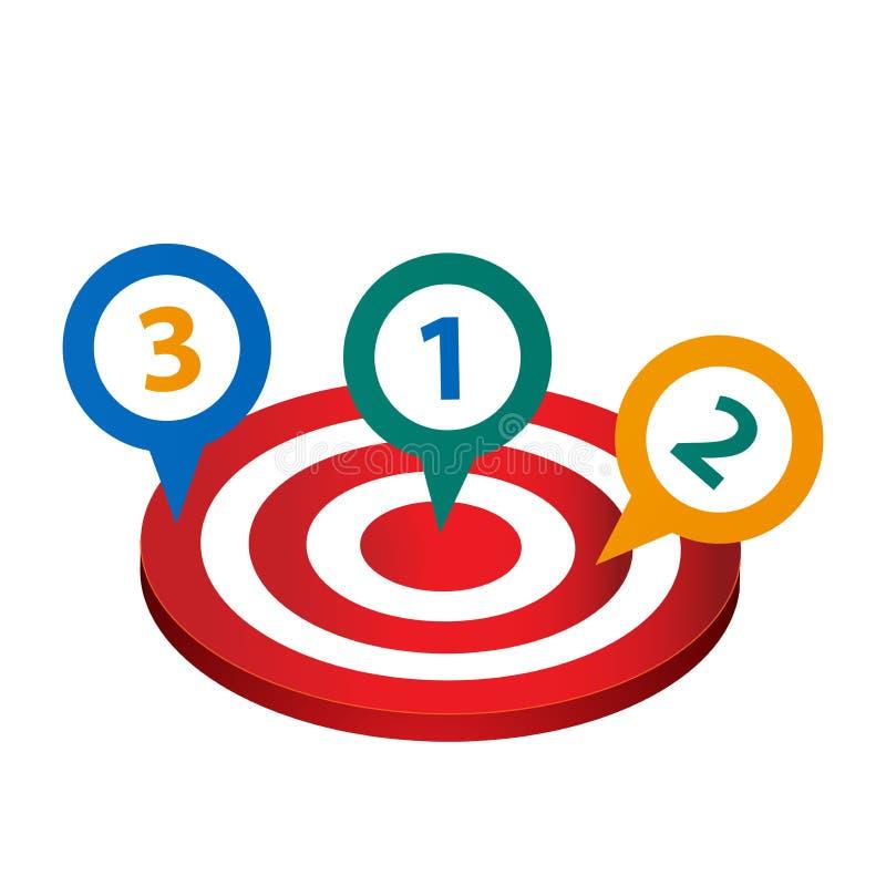 Regolazione degli scopi, degli obiettivi e degli obiettivi illustrazione di stock
