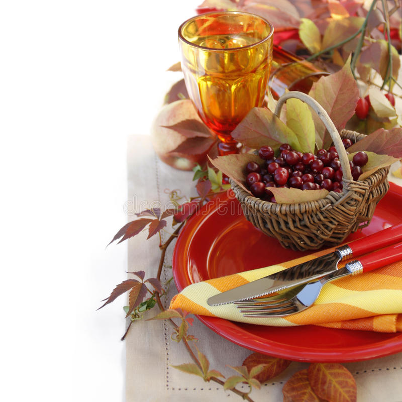 Regolazione della tabella di autunno fotografie stock