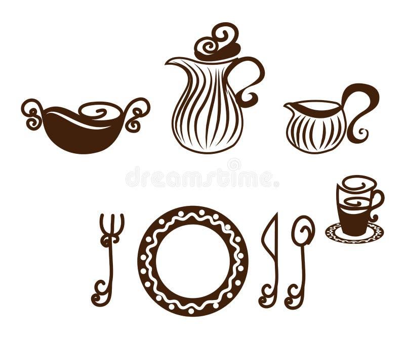 Regolazione della Tabella, piatti illustrazione di stock