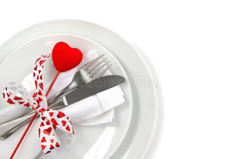Regolazione di posto della Tabella per il giorno del biglietto di S. Valentino immagini stock libere da diritti