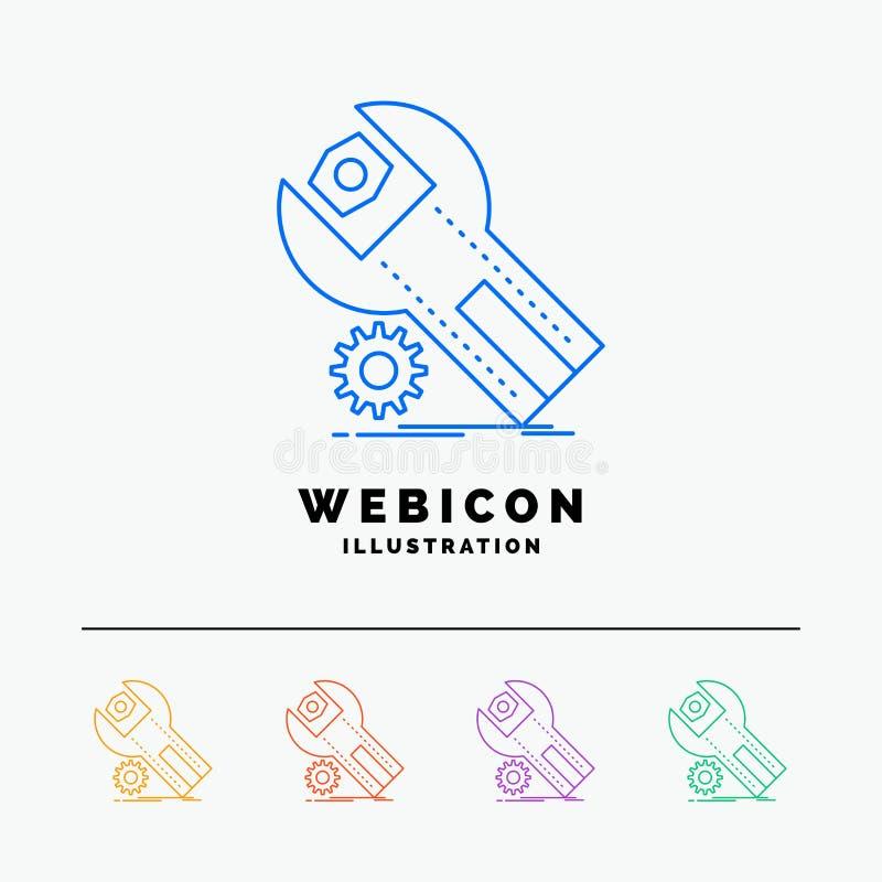 regolazioni, App, installazione, manutenzione, linea di colore di servizio 5 modello dell'icona di web isolato su bianco Illustra illustrazione vettoriale