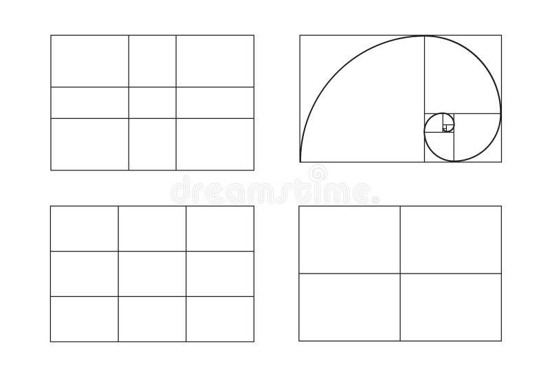 Regole di composizione della foto rapporto dorato, regola empirica di regola dei terzi, illustrazione di vettore illustrazione vettoriale